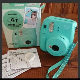 フジフイルム(富士フイルム)の美品 チェキ instax mini8+ ミント フィルム4枚付(フィルムカメラ)
