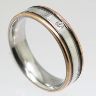 シルバーラインラインストーンステンレスリング 16号 新品(リング(指輪))