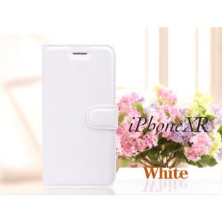 iPhoneXR 手帳型ケース レザー 液晶フィルム カード入れ ホワイト(iPhoneケース)