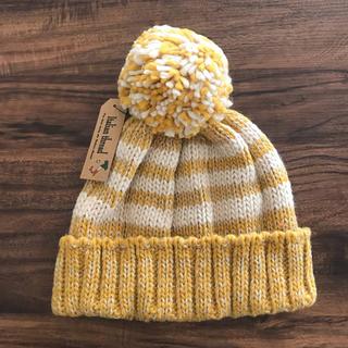 【送料込み・新品】イタリア製糸使用 ニット帽 イエロー(ニット帽/ビーニー)