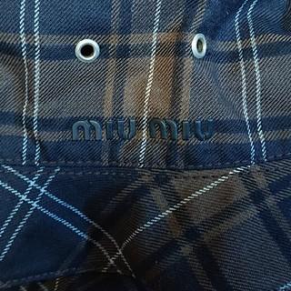 ミュウミュウ(miumiu)のMIU MIU チェック柄帽子 M(ハット)