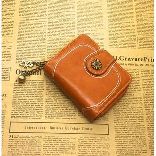 【茶色】二つ折り財布 レディース 可愛いチェーンストラップ付き(財布)
