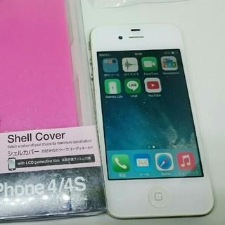 アイフォーン(iPhone)のiPhone4白 16GB LINE入+ケース,液晶保護A1332 動作確認済(スマートフォン本体)