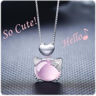 パープル ピンクキャット ペンダント かわいい ハート リボン 猫 ネックレス(ネックレス)