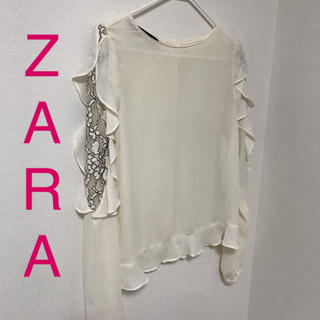 ザラ(ZARA)のZARA ブラウス レース アイボリー 白(シャツ/ブラウス(長袖/七分))