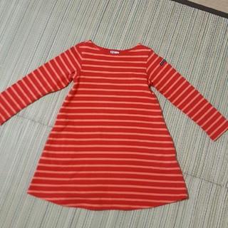 ブリーズ(BREEZE)の赤×オレンジボーダーワンピースBREEZEサイズ110(ワンピース)