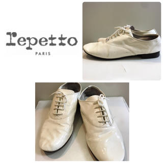 レペット(repetto)のrepetto ホワイトエナメル レースアップ  シューズ(ローファー/革靴)