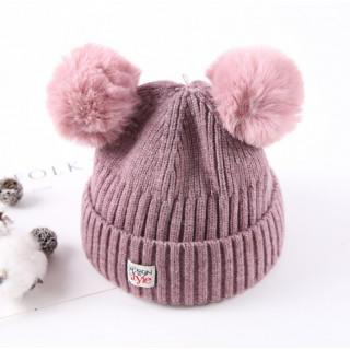ピンク☆ベビー ニット ミッキー風 子供 帽子 キャップ(帽子)