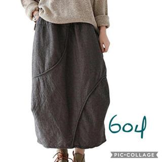 604 新品 綿麻 秋冬 ゆったり チェック バルーン スカート ブラック 冬物(ロングスカート)