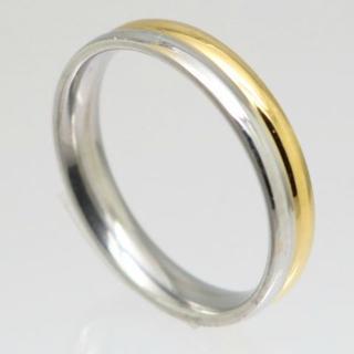 シルバー×ゴールドラインステンレスリング 18号 新品(リング(指輪))