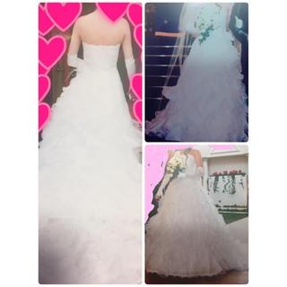 ウェディングドレス(パニエ、ベール、手袋付き)