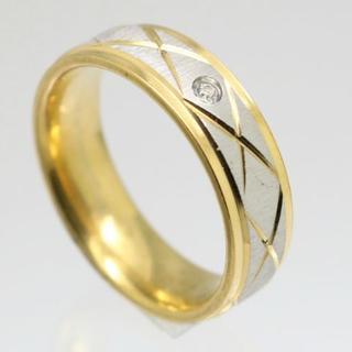 ライストーンキリコミゴールドステンレスリング 16号 新品(リング(指輪))