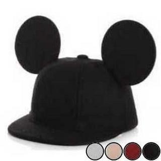 こども用 ミッキー風 耳付き帽子 ブラック(帽子)