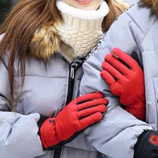 新品未使用 冬用グローブ レッド レディース 赤い女性用手袋 ファッション 小物(手袋)