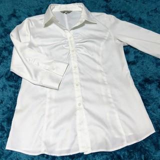 シマムラ(しまむら)の【中古】七分袖 白ワイシャツ レディース 11号(シャツ/ブラウス(長袖/七分))