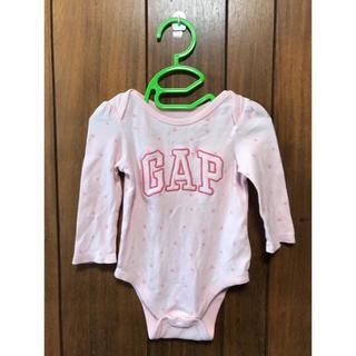 ベビーギャップ(babyGAP)のギャップ ロゴ入りボディスーツ ピンク(ロンパース)