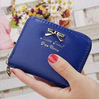 MC141 *リボンモチーフ*折り畳み財布 ブルー(財布)