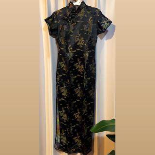 チャイナドレス 黒 半袖 スリット ロング