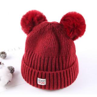 赤★ベビー ニット ミッキー風 子供 帽子 キャップ(帽子)