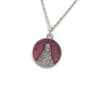 幼きイエスの聖テレジア リジューのテレーズ マザーテレサ ピンク シルバー 聖品(ネックレス)