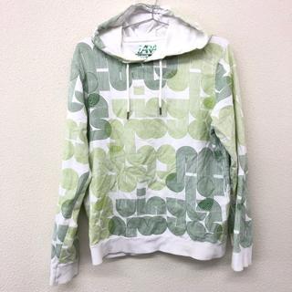 ザラ(ZARA)のZARA ザラ メンズ パーカー 白 ホワイト 柄 緑 グリーン サイズ L(パーカー)