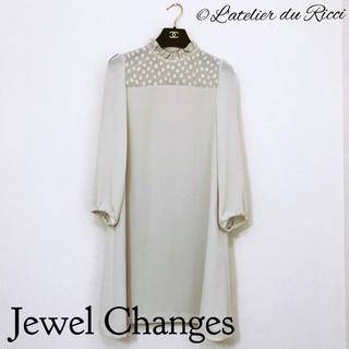ジュエルチェンジズ(Jewel Changes)のJewel Changes 春 シースルー ドット柄 長袖 ワンピース(ひざ丈ワンピース)