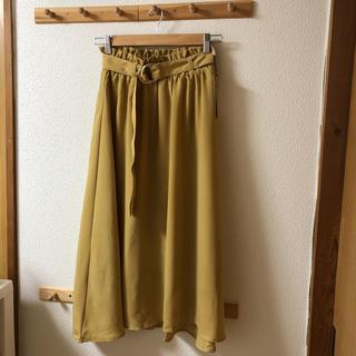 シマムラ(しまむら)の新品 しまむら 膝丈 ロングスカート 黄色 イエロー(ひざ丈スカート)