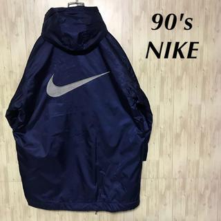 ナイキ(NIKE)の美品 90's NIKE デカロゴ  コーチジャケット フード付き (ナイロンジャケット)