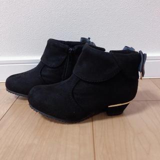 新品タグ付き/リボン付きショートブーツ19cm/ブラック(ブーツ)