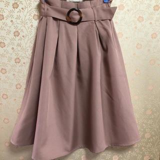 しまむら - 新品 べっ甲ベルト スカート くすみピンク フレアスカート サイズM