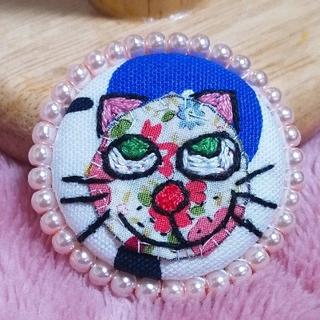 猫ちゃんのブローチ☆パール(その他)