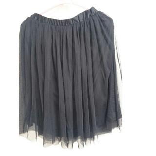 ジーユー(GU)のチュールスカート 黒 ブラック(ひざ丈スカート)