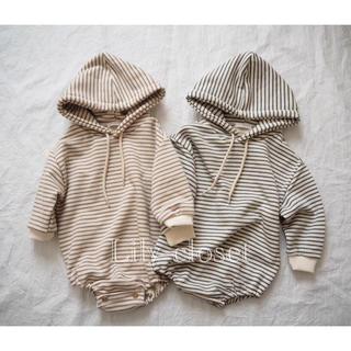 大人気 韓国子供服 男女兼用 ボーダーロンパース 70 80 ベビー服 出産祝い