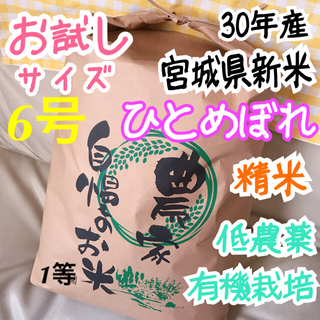 お米 宮城県 30年産 ひとめぼれ 約900g 6号(米/穀物)