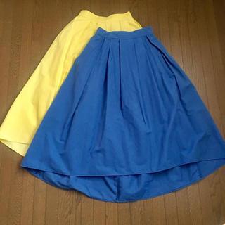 ジーユー(GU)の春色スカート イエロー ブルー(ひざ丈スカート)