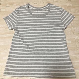 ジーユー(GU)のGU ボーダー Tシャツ グレー(Tシャツ(半袖/袖なし))