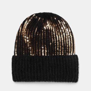 ザラ(ZARA)の新品 今季 ザラ  スパンコール ニット帽(ニット帽/ビーニー)