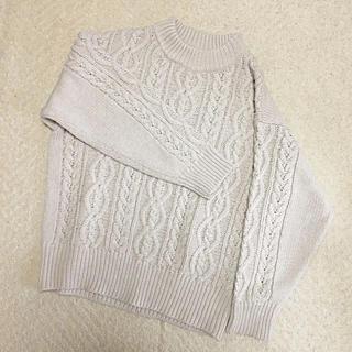 しまむら - ざっくり編み ケーブルニット ベージュ L