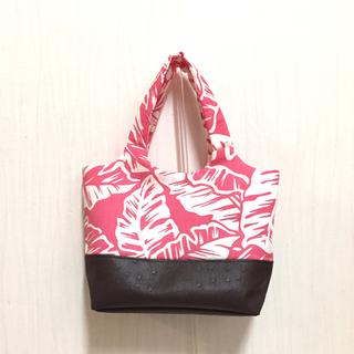 ハワイアントートバッグ(Sサイズ) オーストリッチレザー調を使用 ピンク 茶色(バッグ)