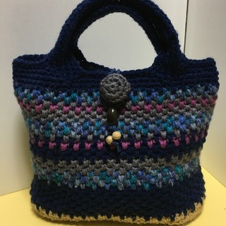 手編みハンドバッグ ハンドメイド 濃紺(バッグ)