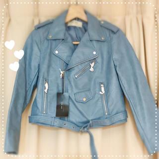 ザラ(ZARA)の☆ZARA☆ 春色ブルー新品ライダースジャケット(ライダースジャケット)