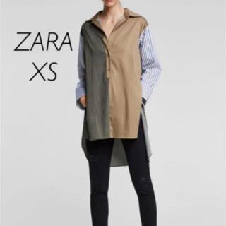 ザラ(ZARA)の【新品・未使用】ZARA オーバーサイズ ストライプ シャツ XS(シャツ/ブラウス(長袖/七分))