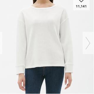 ジーユー(GU)のワッフルドルマンスリーブTシャツ  Mサイズ  白(Tシャツ(長袖/七分))