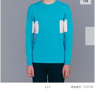 ジーユー(GU)の青×白 L GU×KIM JONES カラーブロックタートルセーター(KJ) (ニット/セーター)