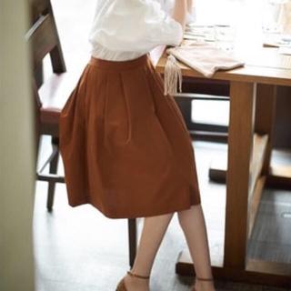 ユニクロ(UNIQLO)の【新品】ユニクロ フレアスカート(茶色)(ひざ丈スカート)