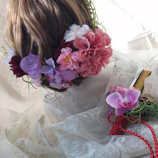 ヘアパーツとお揃い。桜と胡蝶蘭で、春の扇子ブーケ -pink-(ブーケ)