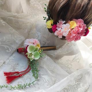 ヘアパーツとお揃い。桜と胡蝶蘭で、春の扇子ブーケ -mixcolor-(ブーケ)