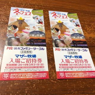 マザー牧場入場招待券2枚 2019年 3/31(動物園)