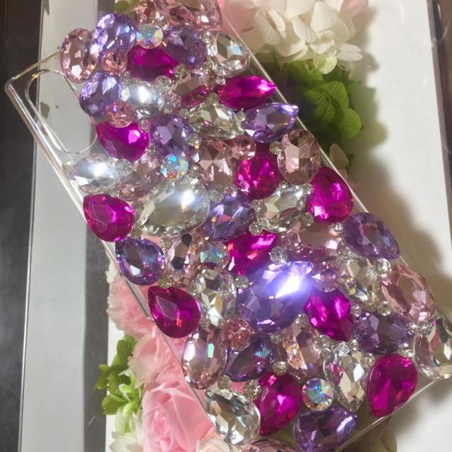 おしゃれ iphone8 カバー シリコン | アイフォンケースカバーガラスビジュー スワロフスキーデコスマホの通販 by デコショップ  雅|ラクマ