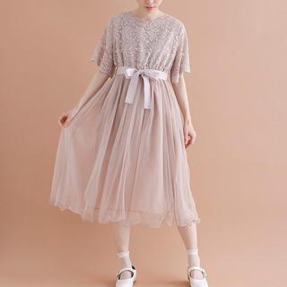 メルロー(merlot)の新作 メルロープリュス 花柄レース ウエストリボン チュール ドレス ワンピース(ミディアムドレス)